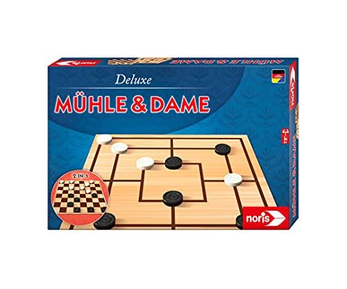 Noris 606108012 - Deluxe Mühle und Dame, der beliebte Spieleklassiker aus Holz mit doppelseitigem Spielplan, ab 6 Jahren