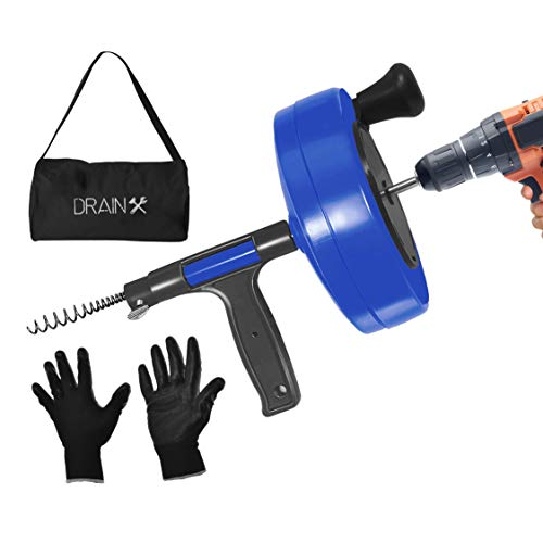 DrainX Power Pro 35-FT Steel Drum Auger Plumbing Snake with Drill Attachment   Use Manually or Powered   Heavy Duty Drain Cleaning Cable with Work Gloves and Storage Bag Included