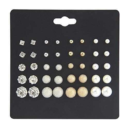 N-K PULABO Women Imitation Pearls Zircon Stud Earring Set Ear Ornament Durable Service Beautiful