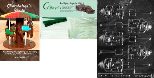 Cybrtrayd Nussknacker Lolly Schokolade Form mit Chocolatier \'s Bundle 25Lollipop Sticks, 25Cello Taschen, 25grün Twist Beziehungen und Chocolatier \'s Guide