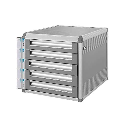 LHQ-HQ Desktop-Fach Sorter Abschließbare Aluminiumlegierung Data Office Speicher-Fach Vertraulichkeit mit Lock-Office Desktop Schublade Organizer (Entwurf: 5 Schichten) (Größe: mittel 5-Schichten) Zei