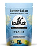 koawach Vanille Kakaopulver Trinkschokolade – Koffein Kakao Guarana Vegan heiße Schokolade Getränk Vanille weniger Zucker Kokosblütenzucker Energy Drink Backkakao Bio Fairtrade (100g)