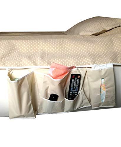 57x26x7cm Betttasche | Sofa Aufbewahrungstasche | Bedside Caddy mit 5 Fächern | Nachttisch Stoff Tasche für Zeitschriften Fernbedienung Windeln Tabletts | Bettablage zum Einhängen | Farbe beige