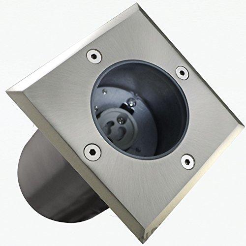 Bodeneinbaustrahler Bodenlampe Bodenstrahler Bodenspot Einbauleuchte Rahmen inkl. GU10-Fassung ECKIG Durchschleifbar