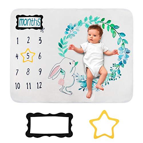 HALOVIE Manta Mensual de Hito para Bebé Unisex para Fotos Fotografía de fondo para recién nacidos 70 x 102 cm Franela Regalos para Mamás Registros de Crecimiento Mensual Suave