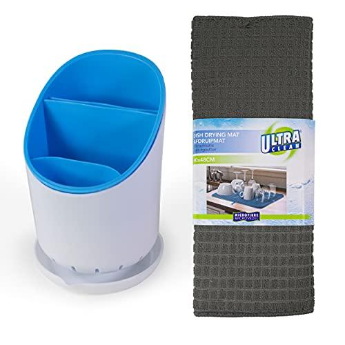 Escurridor cubiertos azul ideal para organizar tu fregadero y cocina. Escurre cubiertos de plastico escurrecubiertos con estera antideslizante gris oscuro.