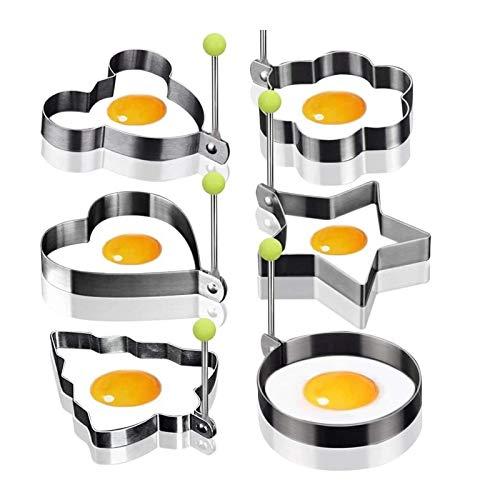 6 個 卵オムレツ パンケーキ 付き エッグリング 目玉焼きの金型 調理 製菓道具 フライパン用 卵リング 目玉焼きリング