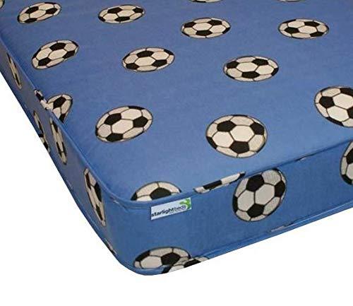 Starlight Beds - 3ft Single Foam Mattress. 4 Inch Reflex Foam Mattress with Blue Football Material. 3ft x 6ft3 (90cm x 190cm)
