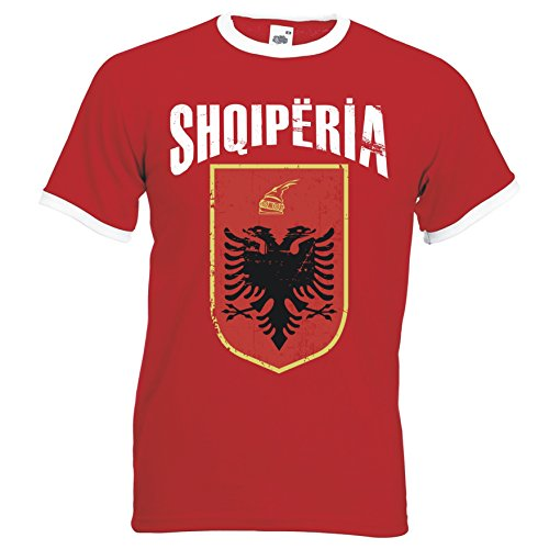Albanien Shqipëria Ringer Herren T-Shirt Trikot Fußball WM 2018 T-Shirt - S M L XL XXL -Rot D01 (L)