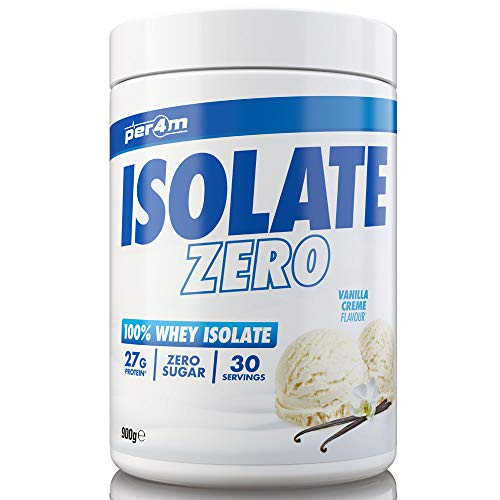 per4m Zero Isolate Whey Protein, Vanilla, 30 Servings 100% Whey Isolate Muscle Building Protein