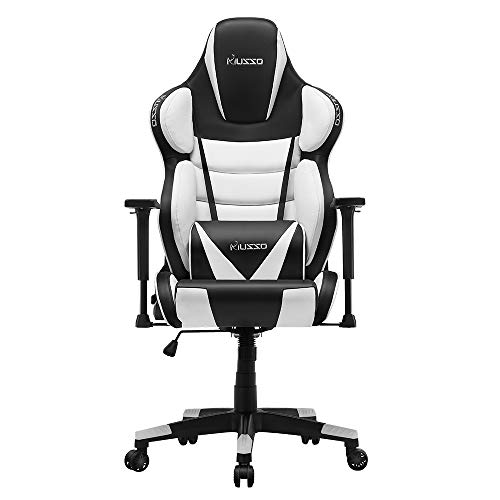 Musso Contoured Gaming Chair Adults Racing Computer Gamer Chair with Fully Foam, Esports Video Game Chair, PU Leather Executive Office Chair with Lumbar Support (White)