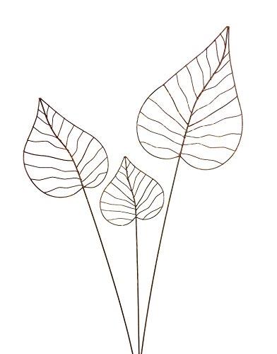 Crispe home & garden Gartenstecker Edelrost - Herzblatt-Set | Rankhilfe Gartendeko bestehend aus DREI verschiedenen Größen Herzblätter