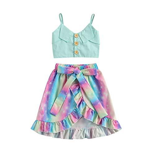 LUCSUN Conjunto de falda de verano para bebé niña con tirantes halter sin mangas, top corto con dobladillo irregular, falda de volantes