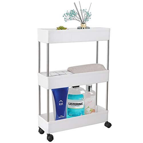 PILITO Slim Storage Cart 3 Tier Rolling Utility Cart Mobile Shelving Unit Organizer with Wheels for Bathroom, Kitchen, Office, Laundry Narrow Places & Dressers, Plastic & Stainless Steel, White