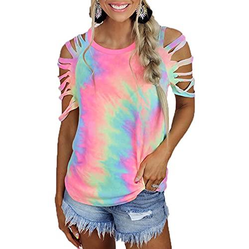Camiseta Casual Sexy con Hombros Descubiertos y Manga Corta Estampada con teñido Anudado para Mujer Hermosa