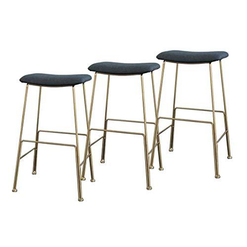 N/Z Tägliche Ausstattung Moderne Bequeme Barhocker 3er-Set Bistro Pub Thekenhöhe Stühle Samtkissen Gold Metallbeine Sitzhöhe 55 cm / 65 cm / 75 cm Grau