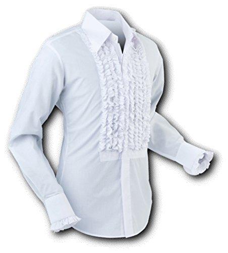 Chenaski 70er Jahre Rüschenhemd White-White Size S
