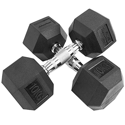 #DoYourFitness Hexagon-Hanteln 2 x 10 kg Kurzhantel - verchromte Griffe, gummierte & rutschsichere Dumbbells - Studio Hexbell schwarz - Hantel-Set