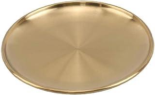 Plaque À Manger Plaque Vaisselle Inoxydable d'or Ronde en Acier Plateau Style Européen Arts De La Table De Cuisine Outils ...