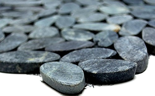 Mosaik Kiesel geschnitten uni schwarz 5/7 Flußkiesel Steinkiesel Flussstein Kieselmosaik, Mosaikstein Format: 30-70x9 mm, Bogengröße: 305x305 mm, 1 Bogen/Matte