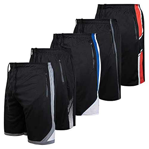 Mens Athletic Running Shorts Dry Fit Active Shorts with Zippered Pockets 5 Pack
