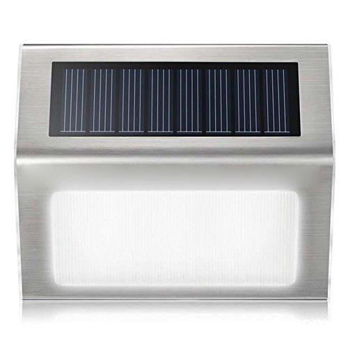 Zyurong® Lampes solaires de Step, EN ACIER INOXYDABLE extérieur Lampes solaires de escaliers éclairages de sécurité pour Deck Patio Allée Jardin au sol