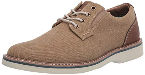 Nunn Bush Men's Barklay Canvas Plain Toe Oxford Lace Up, Khaki,7 M US