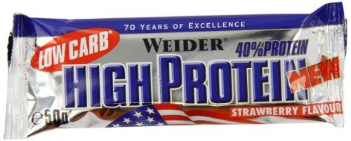 Weider 40% Protein Low Carb, Fresa - Paquetes de 24 x 50 gr