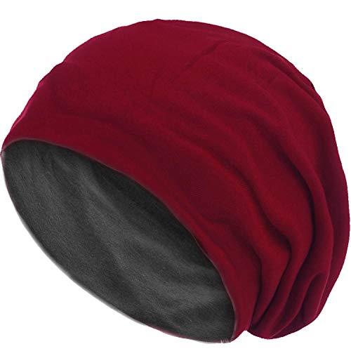 style3 Wende Slouch Beanie 2-farbig aus atmungsaktivem, feinem Jersey Unisex Mütze Haube Einheitsgröße, Farbe:Dunkelrot-Grau