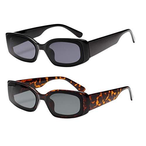 Milageto Paquete de 2 Gafas de Sol Cuadradas para Hombre Y Mujer, Gafas de Sol de Color Caramelo a La Moda, Sombra UV400