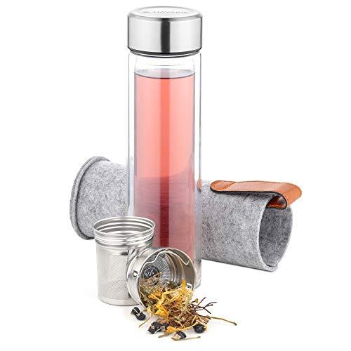 Navaris Teeflasche aus Glas mit Edelstahl Sieb - 500ml Tee Flasche Teekanne to go - Trinkflasche doppelwandig aus Borosilikatglas - mit Filz Hülle