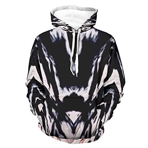 Felpa con cappuccio unisex Tie-Dye astratta arte 3D Heavy weight Sweater a maniche lunghe, colore bianco, S