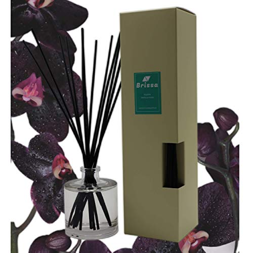 Brissa España. Ambientador Mikado Varillas Luxury. Relajante. Eco. Perfume Unico Exclusivo Black Orchid & Lily. 100 ml. Hecho en España.