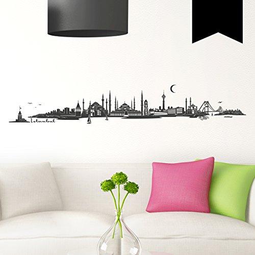 WANDKINGS Wandtattoo - Skyline Istanbul (ohne Fluss) - 120 x 20 cm - Schwarz - Wähle aus 6 Größen & 35 Farben