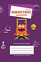 School of Monsters Workbook, A5 Size, Wide Ruled, White Paper, Primary Composition Notebook, 102 Sheets (Purple)