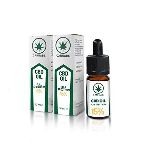 CBD-15% Full-Spectrum-Oil | Olio Organico Arricchito | Prodotto in Italia | 100% Legale e Vegano | Confezione +200 gocce in 10ml - Cannabe
