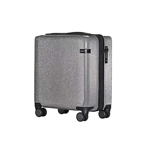 Web Celebrity Suitcase, Maleta pequeña de Cuero Fresco para Mujer Contraseña Universal Wheel Pull Rod Maleta Maleta (Color: Silver, Size: 20)