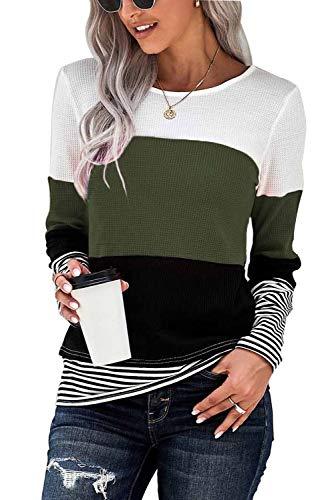 GOLDPKF Camiseta de manga larga para mujer, a rayas, cuello redondo, manga larga, jersey básico, ropa, A-verde., M