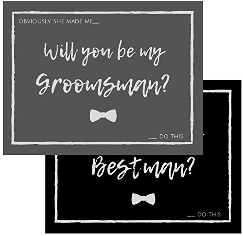 Will You Be My Groomsman? Will You Be My Best Man? Proposal Cards with Envelopes 10 pack | Groomsmen, Wedding Party Proposal Black and Dark Grey Vintage Rustic Premium Card stock