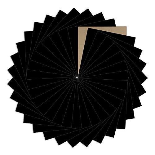 "Black Heat Transfer Vinyl Bundle : 31 Pack 12"" x 10"" Sheets - Black Iron on Vinyl for DIY Iron on Fabrics T-Shirts Heat Press Machine"