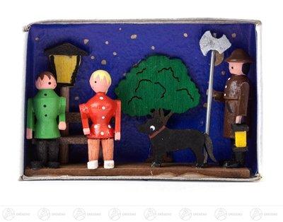 Miniatur Zündholzschachtel Nachtwächter Breite x Höhe ca 5,5 cmx4 cm NEU Erzgebirge Weihnachtsfigur Holzfigur