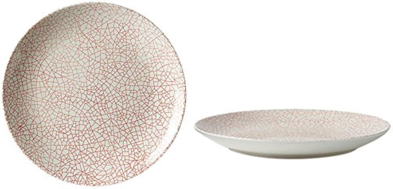Fill 21330 Set aus 4 Steingut-Tellern, Kollektion Althea, Design Crackle rot (Rot) B00PVUO3WU