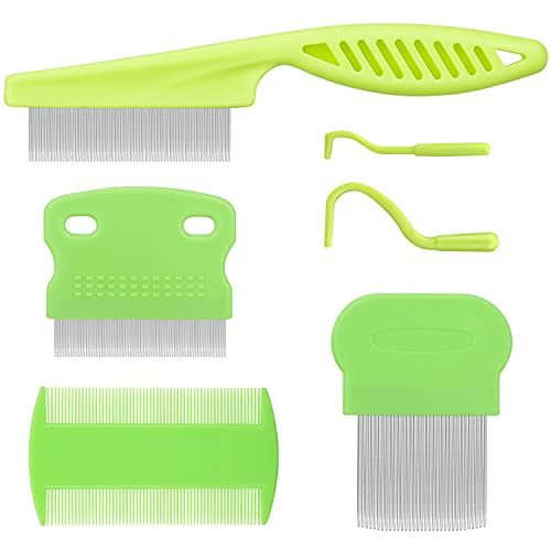 Flea Comb for Cats Dogs Fine Tooth Comb Pet Comb Grooming Set Remove Float Hair Tear Marks Tick Removal Tool (Green)