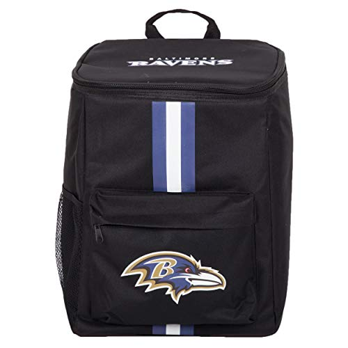 Cooler Backpack – Portable Soft Sided Ice Chest – Insulated Bag Holds 36 Cans - NFL Football Gear – Show Your Team Spirit with Officially Licensed Fan Gear (Baltimore Ravens)