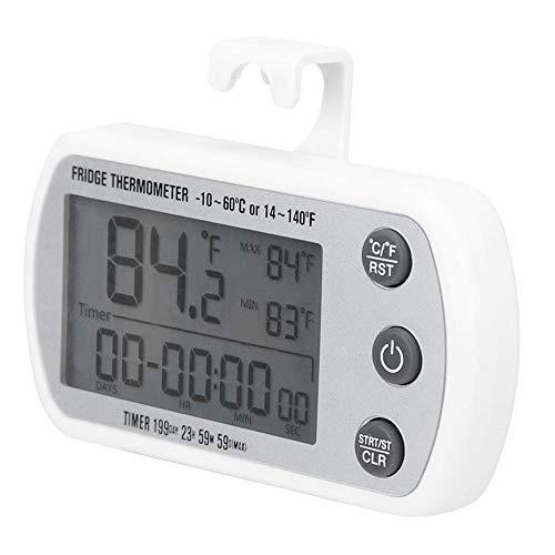 01 Termómetro para refrigerador, ℃ / ℉ Medidor de Temperatura para refrigerador, LED Digital Colgante para congelador Pantalla de Temperatura del refrigerador Probador Monitor de Temperatura