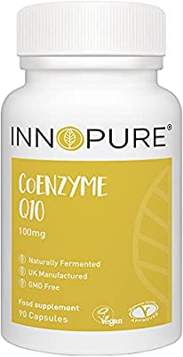 CoQ10 Pure Coenzyme Q10 100mg, Naturally Fermented, Vegan Society Approved, 90 Capsules, Made in The UK by Innopure