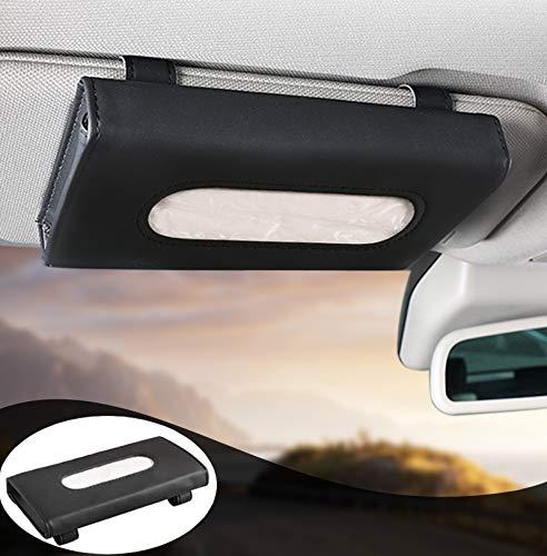 MEETYB Car Tissue-Holder Visor Napkin-Case - PU Leather Vehicle Backseat Door Tissue Holder Car Hanging Towel Paper Facial Tissues Box Black
