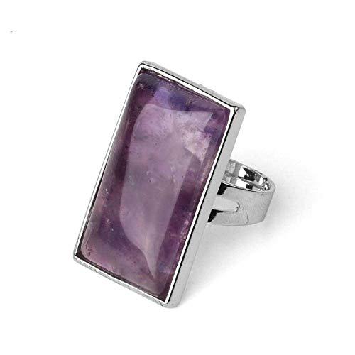 Anillo abierto Gflyme para mujer, elegante anillo cuadrado de piedra de amatista, ajustable, unisex, joyería dorada, regalos para bodas, graduación, cumpleaños, cumpleaños, promesa