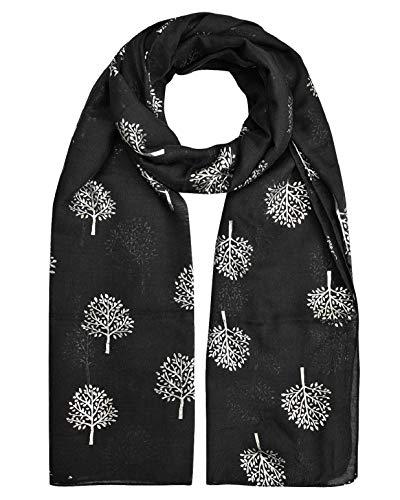 heekpek Bufanda Pañuelo Cuello Mujer Elegante Bufanda de Seda Fular de Mujer Estampado Hoja Plata Apto para Cuatro Estaciones Mujer Bufandas