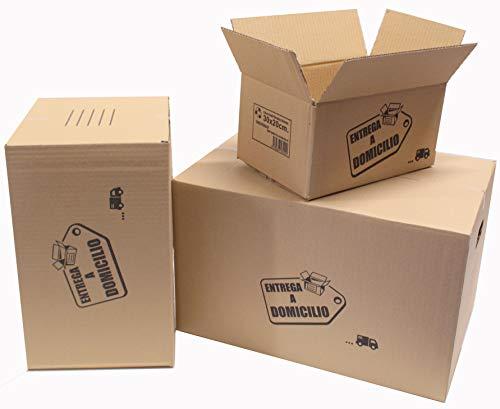 Chely Intermarket, Cajas de cartón para mudanzas 30x20x15cm (Pack 20uds) Disponible en varias dimensiones | Canal simple de alta calidad | Fabricadas en España | 100% reciclables (30x20x15-5,10)